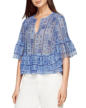 Bcbgmaxazria Immane Ruffled Geo Lace Top at Bloomingdale's