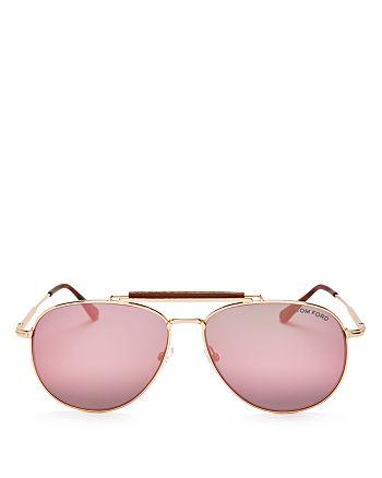 Tom Ford - Women's Mirrored Aviator Sunglasses, 62mm