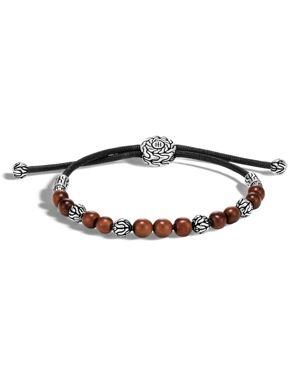 John Hardy Sterling Silver Classic Chain Wood Beaded Bracelet on Black Cord