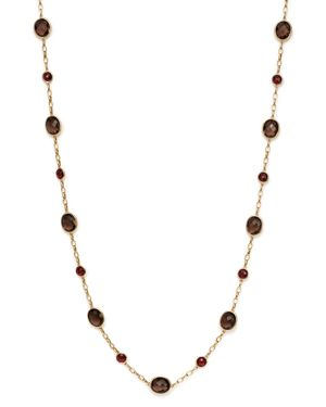Smoky Quartz and Garnet Necklace in 14K Yellow Gold, 30 - 100% Exclusive