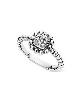 LAGOS - Sterling Silver Caviar Spark Diamond Square Ring