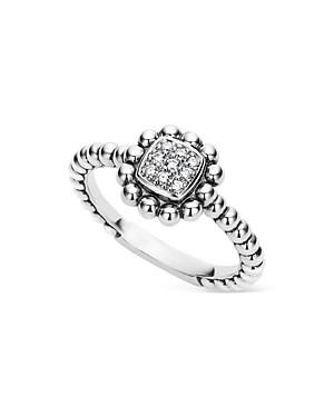 Lagos Sterling Silver Caviar Spark Diamond Square Ring