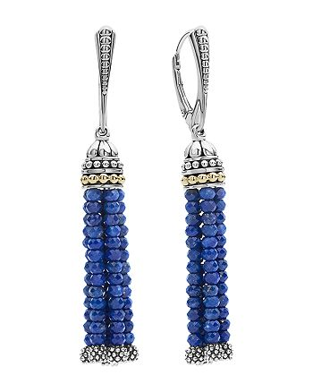 LAGOS - 18K Gold and Sterling Silver Caviar Icon Lapis Tassel Drop Earrings
