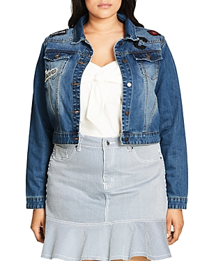 City Chic Patch Embroidered Denim Jacket