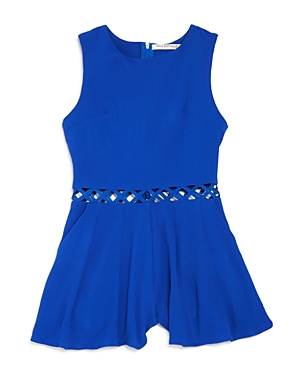 Miss Behave Girls' Textured Cutout Waist Romper - Sizes 8-16