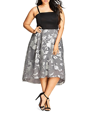 City Chic Silver Shadow Dress