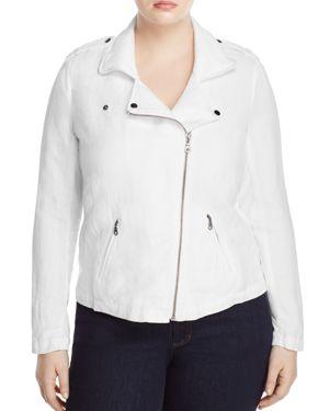 Nic and Zoe Plus Linen-Blend Biker Jacket