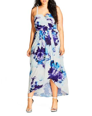 City Chic Blue Bloom High/Low Maxi Dress In Cream Ivory