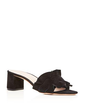 Loeffler Randall - Women's Vera Ruffle Block Heel Slide Sandals