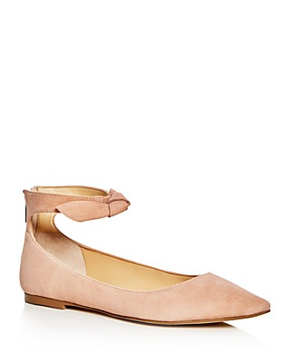 IVANKA TRUMP Tramory Suede Ankle Strap Pointed Toe Flats Women