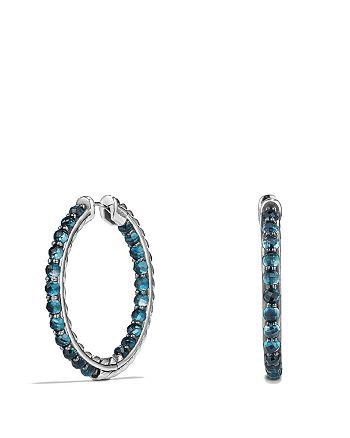 David Yurman - Cable Berries Hoop Earrings with Hampton Blue Topaz