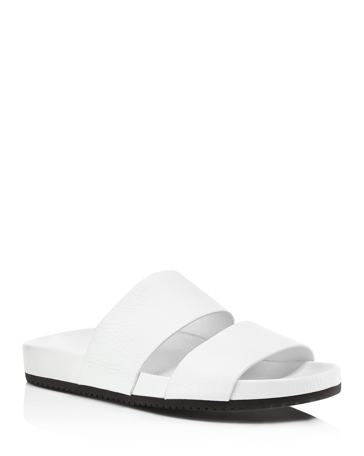 Vince Georgie Leather Pool Slide Sandals White Women