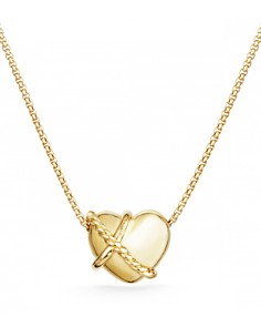 David Yurman - Le Petit Coeur Sculpted Heart Pendant Necklace with Diamonds in 18K Gold