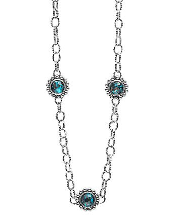 LAGOS - Sterling Silver Maya Escape Chrysocolla Five Stone Doublet Station Necklace, 20""