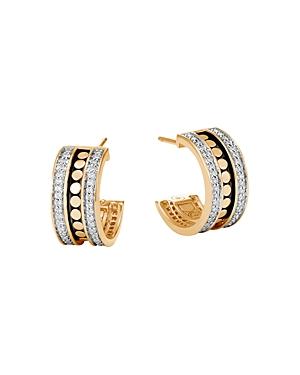 John Hardy 18K Yellow Gold Dot Diamond Hoop Earrings