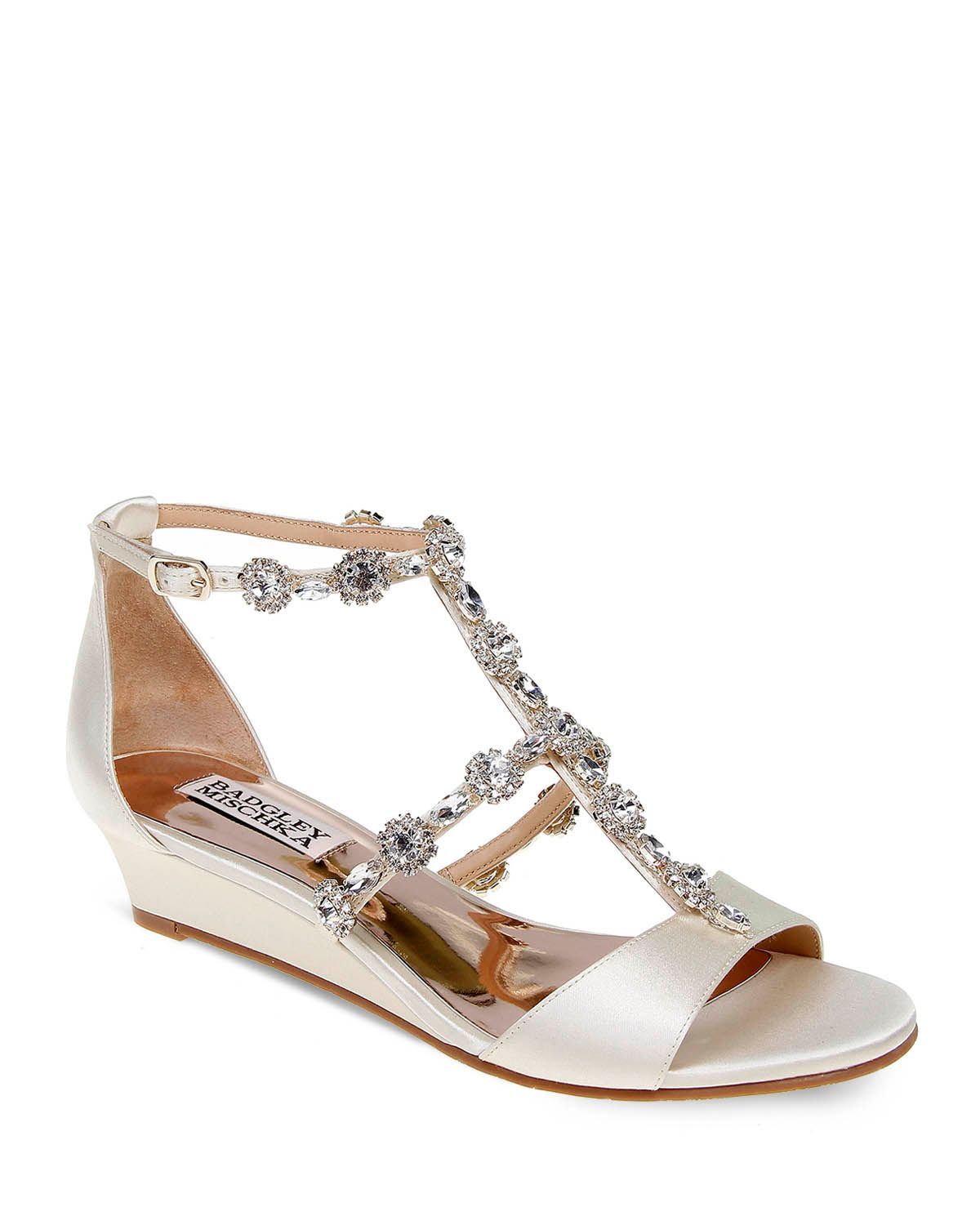 Badgley Mischka Terry Embellished T Strap Wedge Sandals