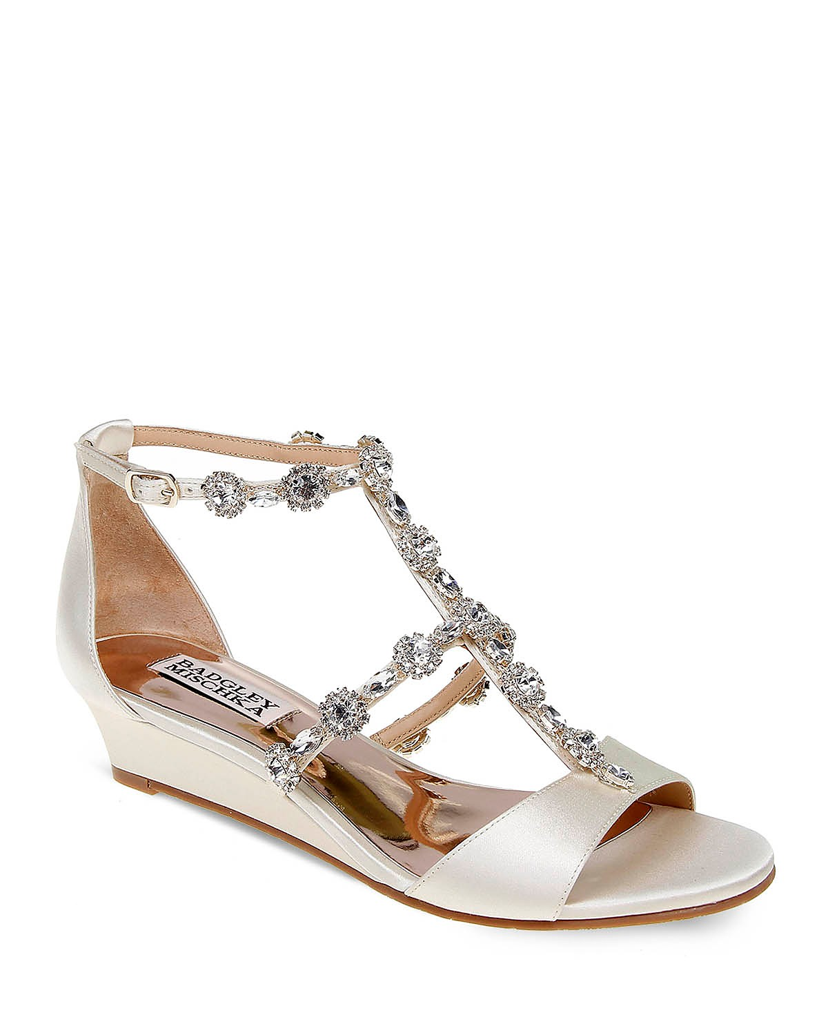 Badgley Mischka Terry Embellished T Strap Wedge Sandals H9qXT