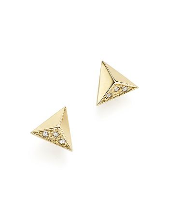 cf3cadcc7 Zoë Chicco - 14K Yellow Gold Triangle Pyramid Pavé Stud Earrings,  ...