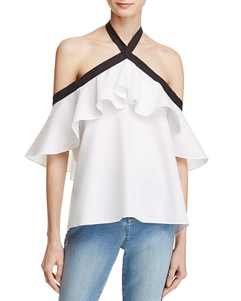 a5f030a41c8e7d Alice and Olivia Alice + Olivia Alyssa Off-the-Shoulder Halter Top ...