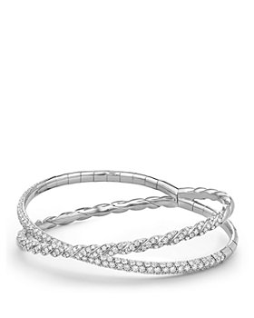 David Yurman - Pavé Flex Two Row Bracelet with Diamonds in 18K White Gold