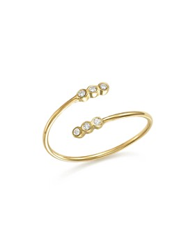 Zoë Chicco - 14K Yellow Gold Bypass Ring with Bezel Diamonds