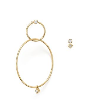 Zoe Chicco 14K Yellow Gold Mixed Diamond Stud and Hoop Earrings