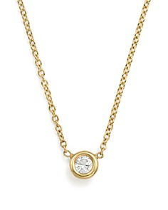 Zoë Chicco - 14K Yellow Gold Choker with Diamond Pendant, 14""