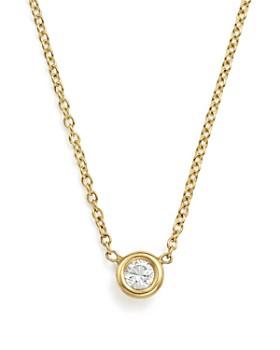"Zoë Chicco - 14K Yellow Gold Choker with Diamond Pendant, 14"""