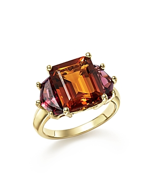 Citrine and Garnet Statement Ring in 14K Yellow Gold - 100% Exclusive
