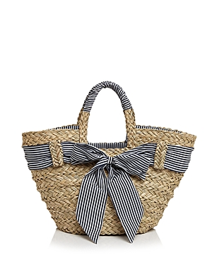 Filippo Catarzi Striped Bow Straw Tote