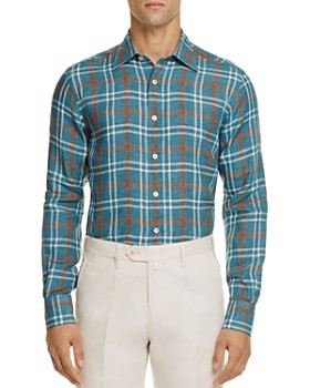 Canali - Plaid Linen Regular Fit Button-Down Shirt