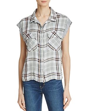 Bella Dahl Flap Pocket Plaid Crop Shirt