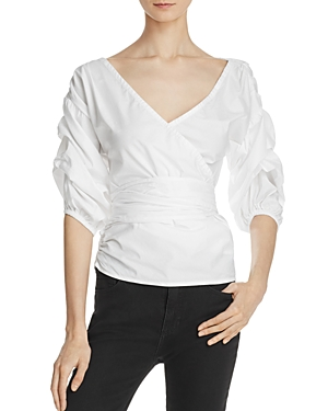 Mlm Label Salo Gathered Sleeve Wrap Blouse