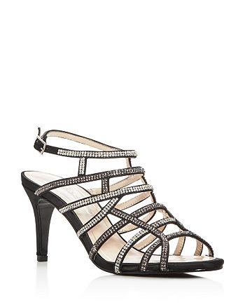 Caparros - Women's Harmonica Embellished Satin Caged High-Heel Sandals