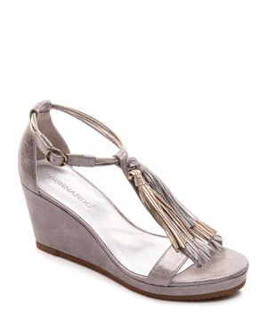 Bernardo Khloe Metallic Tassel Wedge Sandals