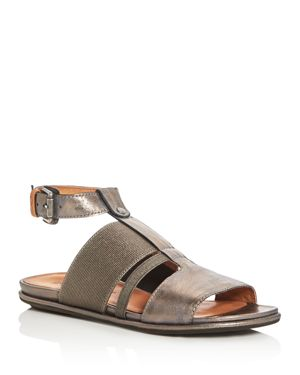 Gentle Souls Ophelia Metallic T-Strap Sandals