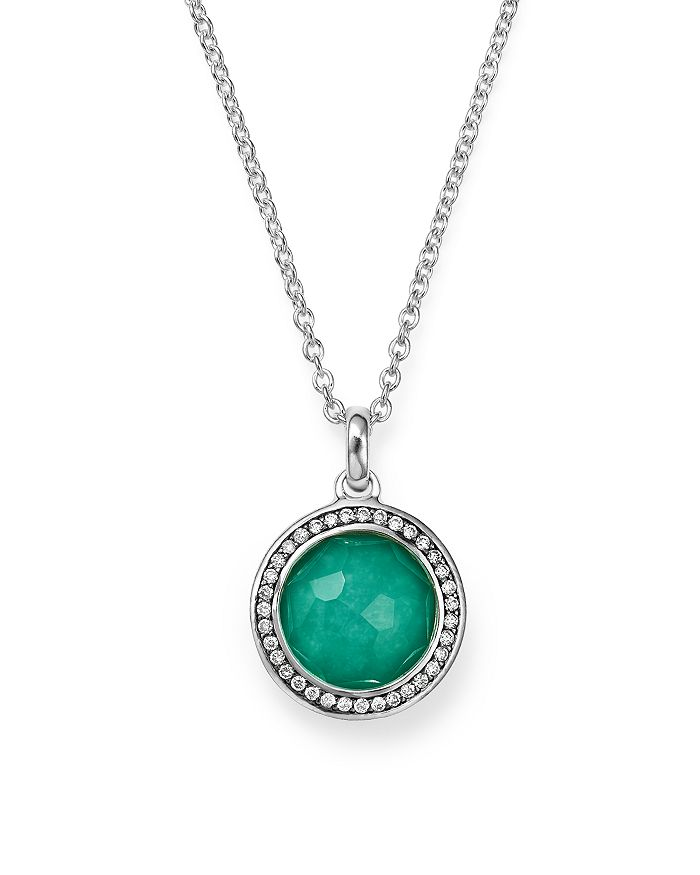 IPPOLITA - Sterling Silver Stella Lollipop Pendant Necklace in Turquoise Doublet with Diamonds, 16""