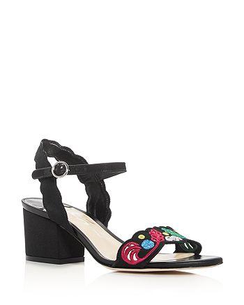 Isa Tapia - Women's Luisa Embroidered Fabric Block Heel Sandals