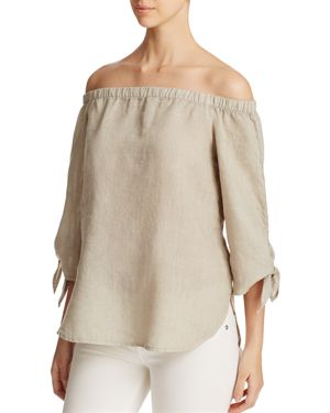 Side Stitch Off-The-Shoulder Tie Sleeve Top