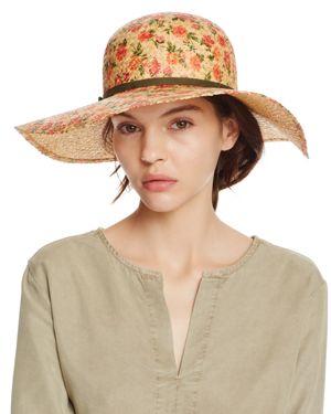 Bettina Floral Print Straw Floppy Sun Hat with Ribbon Trim