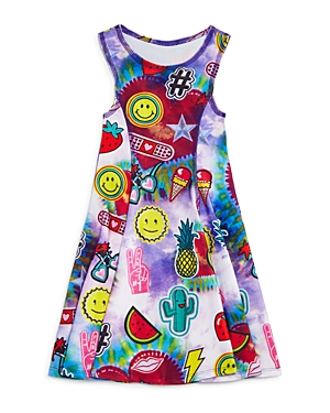 Terez Girls' Tie Dye Patch Dress - Little Kid