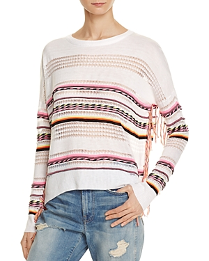 Aqua Neon Striped Fringe Sweater - 100% Exclusive