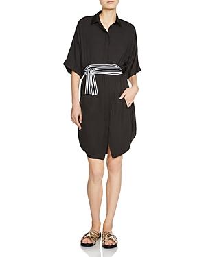 Maje Rasper Belted Shirt Dress