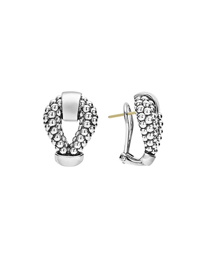 LAGOS - Sterling Silver Derby Caviar Omega Clip Earrings