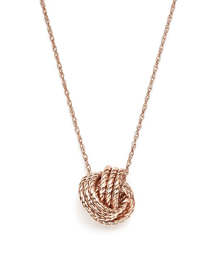 """Bloomingdale's - 14K Rose Gold Twisted Love Knot Necklace, 18"""" - 100% Exclusive"""