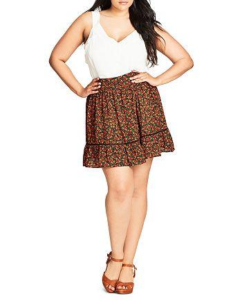 City Chic Plus - Floral Print Skirt