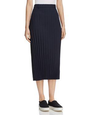 Dkny Pleated Pinstripe Midi Skirt