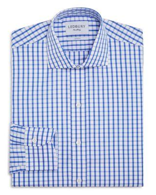 LEDBURY 'Urbana Box' Slim Fit Check Dress Shirt in Blue