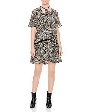 Sandro Tabata Tie-Neck Printed Dress