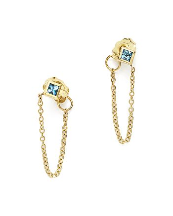 Zoë Chicco - 14K Yellow Gold Draped Chain Stud Earrings with Aquamarine- 100% Exclusive